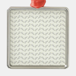 ice cream sundae Silver-Colored square ornament