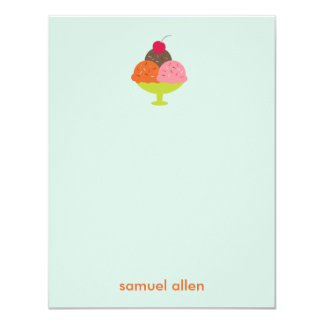 Ice Cream Sundae Thank You Cards (Blue)