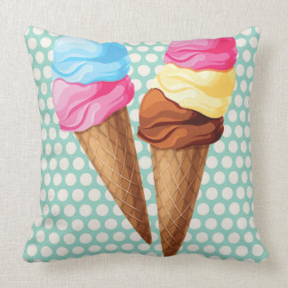 Ice cream throw pillow fun colorful