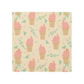 Ice Cream Triangle Pastel Pink / Andrea Lauren Wood Print