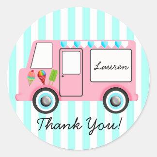 Ice Cream Truck Round Sticker