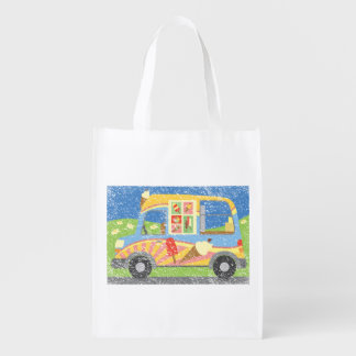 Ice Cream Van Worn Look Reuseable Grocery Bag