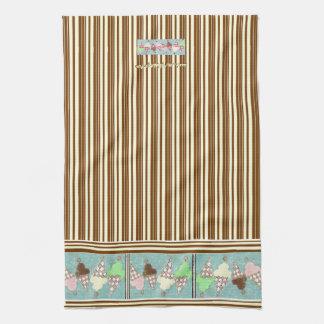 Ice Cream Vertical Stripe Kitchen Towel