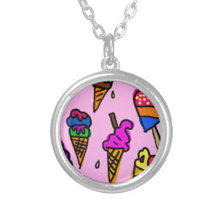 Ice Cream Wallpaper Silver Plated Necklace