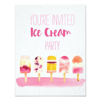 Ice Cream Watercolor Party invitation