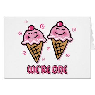 Ice Cream We're One Twin Girls Card