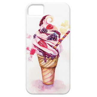 Ice cream with strawberry and blackberry iPhone 5 cover