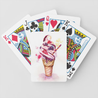 Ice cream with strawberry and blackberry poker deck