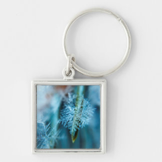 Ice Crystal,  Wintertime, Snow, Nature Silver-Colored Square Keychain