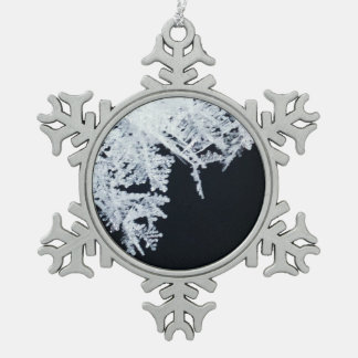 Ice crystals snowflake pewter christmas ornament