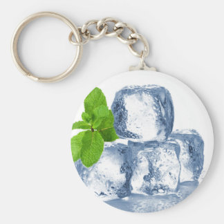 Ice cube cool yourself basic round button keychain