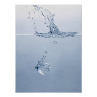 Ice cube splashing into water poster