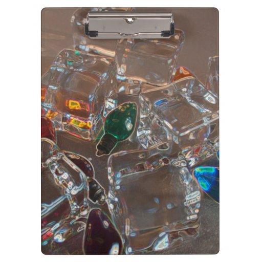 ice cubes bulbs sparkle beach christmas clipboards