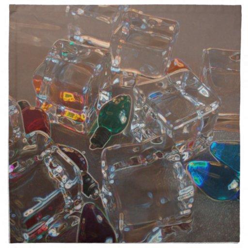 ice cubes bulbs sparkle beach christmas printed napkin