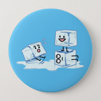 ice cubes icy cube water slipping stack melt cold 4 inch round button