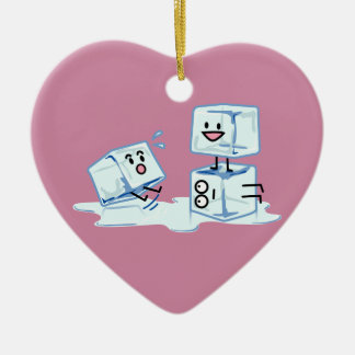ice cubes icy cube water slipping stack melt cold ceramic heart ornament