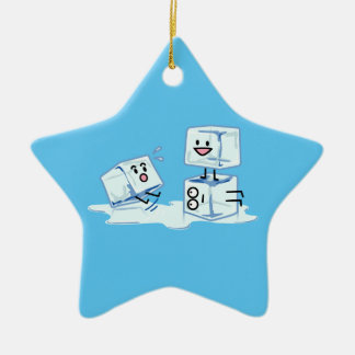 ice cubes icy cube water slipping stack melt cold ceramic star ornament