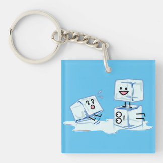 ice cubes icy cube water slipping stack melt cold Double-Sided square acrylic keychain
