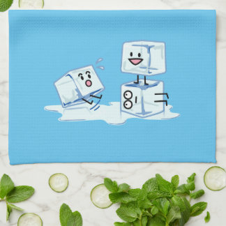 ice cubes icy cube water slipping stack melt cold kitchen towel