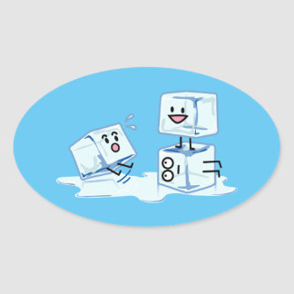 ice cubes icy cube water slipping stack melt cold oval sticker