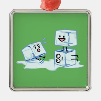 ice cubes icy cube water slipping stack melt cold Silver-Colored square ornament