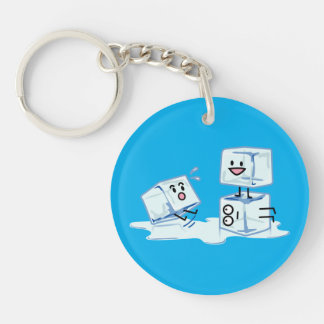 ice cubes icy cube water slipping stack melt cold Single-Sided round acrylic keychain