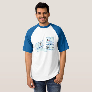 ice cubes icy cube water slipping stack melt cold t-shirt