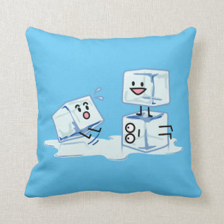 ice cubes icy cube water slipping stack melt cold throw pillow