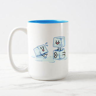 ice cubes icy cube water slipping stack melt cold Two-Tone coffee mug