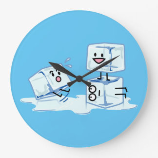 ice cubes icy cube water slipping stack melt cold wall clock