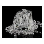Ice cubes melting into diamonds poster