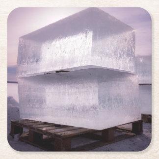 Ice cubes square paper coaster