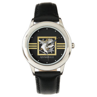Ice | Figure Skating Black Faux Gold Girls Name Watch