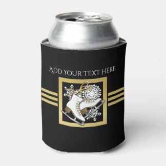 Ice | Figure Skating Black Faux Gold Modern Chic Can Cooler