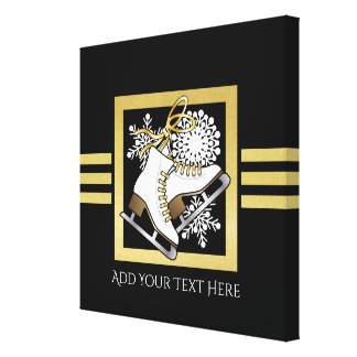 Ice | Figure Skating Black Faux Gold Modern Chic Canvas Print