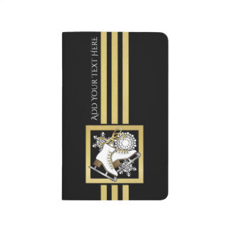 Ice | Figure Skating Black Faux Gold Modern Chic Journal