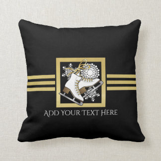 Ice | Figure Skating Black Faux Gold Modern Chic Throw Pillow