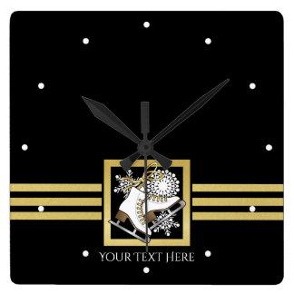Ice | Figure Skating Black Faux Gold Modern Custom Square Wall Clock