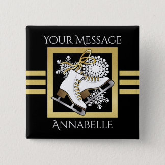 Ice | Figure Skating Black Faux Gold Modern Name 2 Inch Square Button