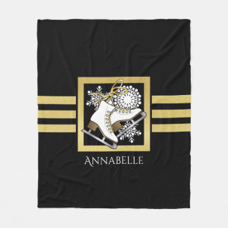 Ice | Figure Skating Black Faux Gold Modern Name Fleece Blanket