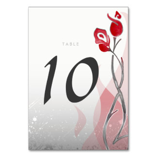 Ice & Fire Wedding Table Cards | Red Silver Roses