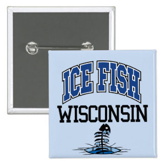 Ice Fish Wisconsin 2 Inch Square Button