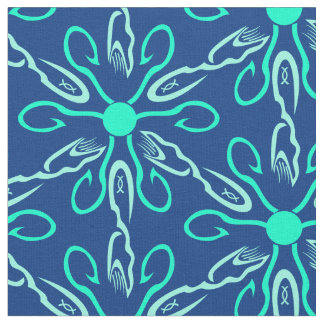 Ice Fisherman Snowflake Hexagon Pattern Fabric