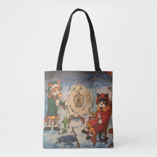 Ice Fishing at Night Cats Tote Bag