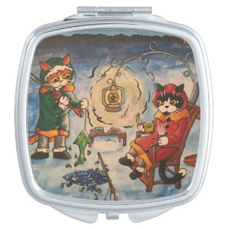 Ice Fishing at Night Cats Vanity Mirrors