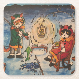 Ice Fishing at Night Square Paper Coaster