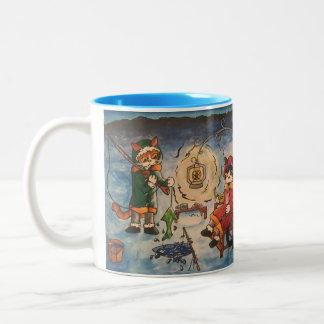 Ice Fishing at Night Two-Tone Coffee Mug
