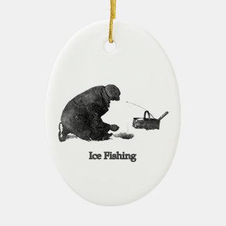 Ice Fishing Ceramic Ornament