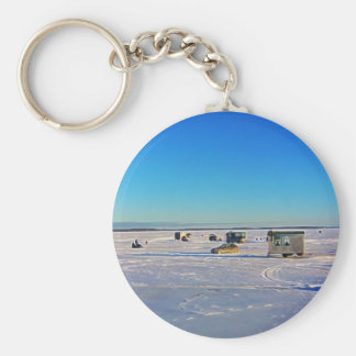 Ice Fishing collectin Basic Round Button Keychain