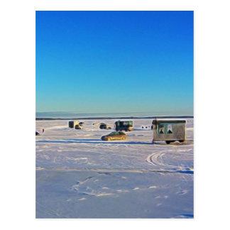 Ice Fishing collectin Postcard